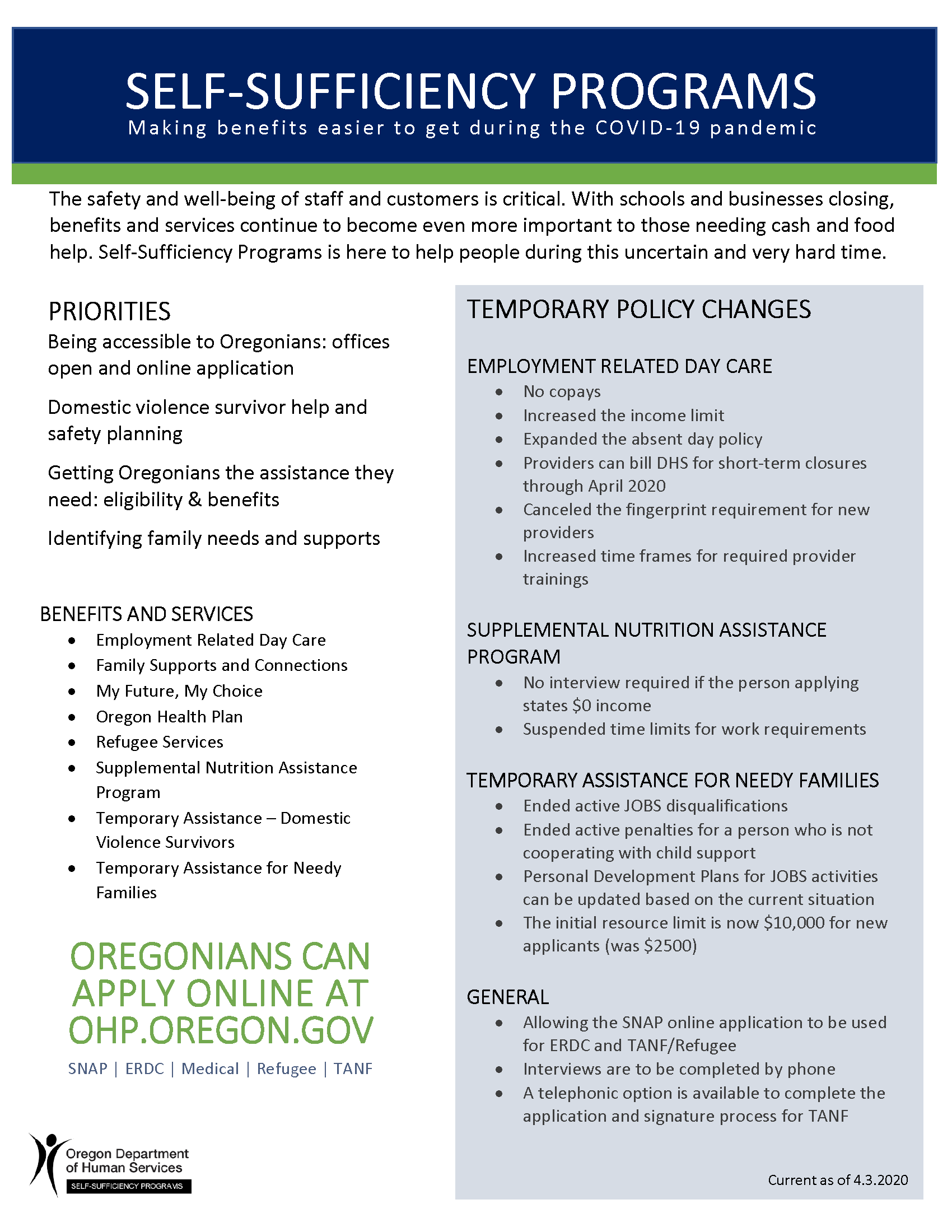 SSP COVID-19 Temporary Changes Fact Sheet-Final