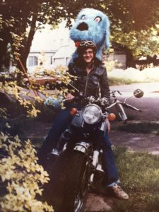 Bob loved to cruise. Here he arrives on his bike at White Bird with a gift! circa 1980