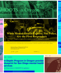 a colorful scattering of headlines of news articles feature CAHOOTS